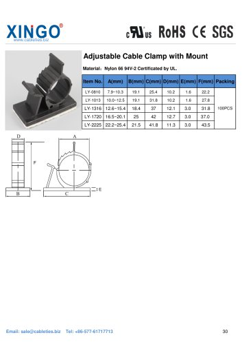 Xingo-Adjustable Cable Clamp with Mount