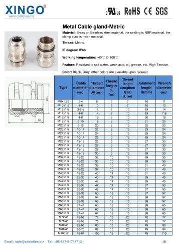 Xingo-Metal Cable gland-Metric