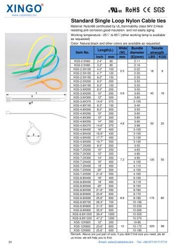 Xingo-Standard Single Loop Nylon Cable ties