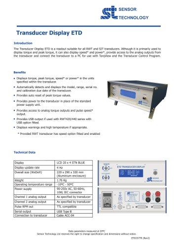 ETD Torque Transducer Display Interface