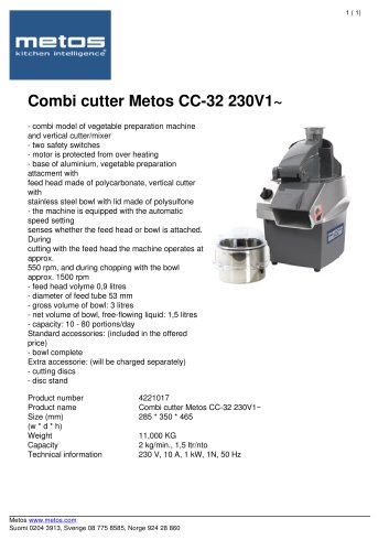 Combi cutter Metos CC-32 230V1~