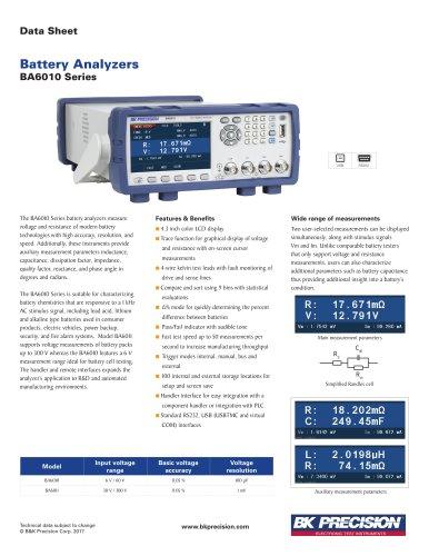 BA6010 Series Battery Analyzers