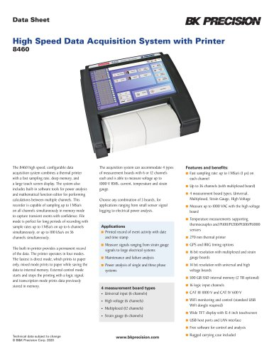 High Speed Data Acquisition System with Printer 8460