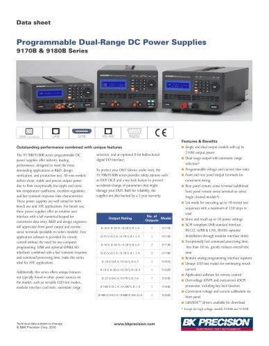 Programmable Dual-Range DC Power Supplies 9170B & 9180B Series