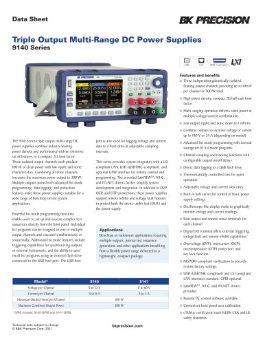Triple Output Multi-Range DC Power Supplies 9140 Series