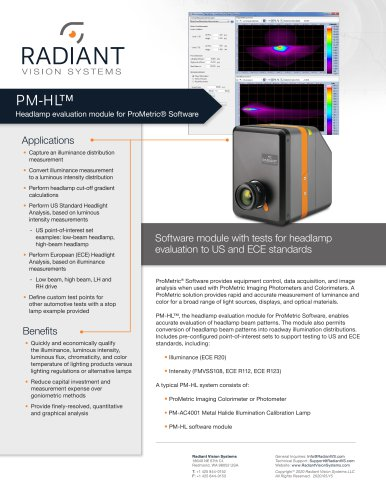 PM-HL™: Headlamp Evaluation Module for ProMetric® Software