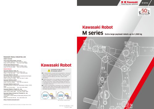 Kawasaki Robot M series Extra large payload robots up to 1,500 kg