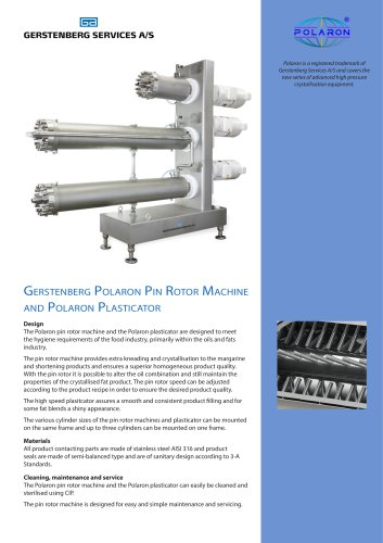 Gerstenberg Polaron Pin Rotor Machine and Polaron Plasticator