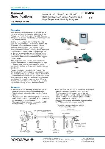 Model ZR22G, ZR402G, and ZR202G Direct In Situ Zirconia Oxygen Analyzers and High Temperature Humidity Analyzers