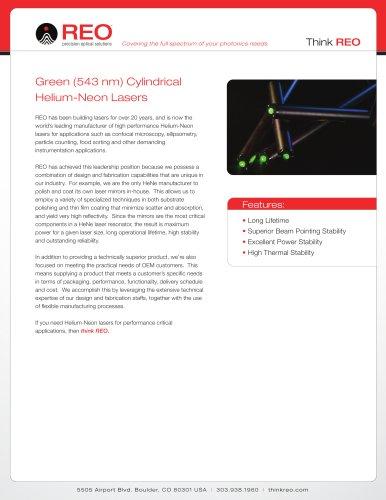 543nm Green Helium-Neon Lasers