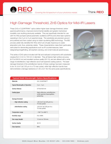 High Damage Threshold, ZnS Optics for Mid-IR Lasers