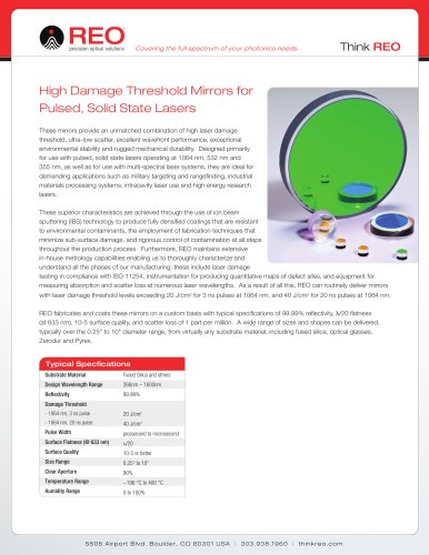High Laser Damage Threshold Mirrors