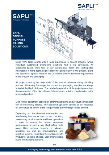 Special Purpose Filling Solutions