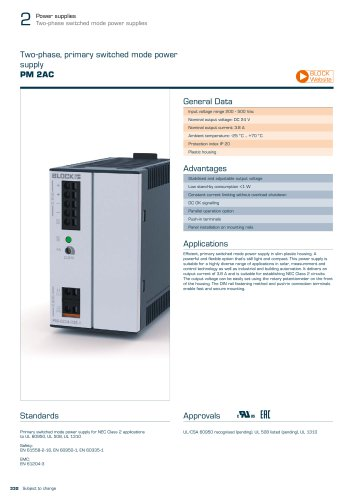 Two-phase, primary switched mode power supply PM 2AC
