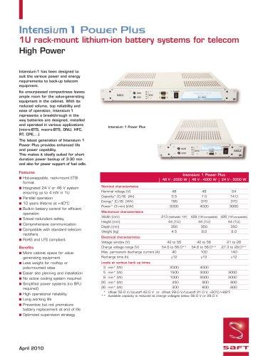Intensium 1 Power Plus - Data Sheet - April 2010