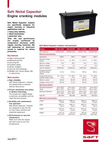 SNC - Saft Nickel Capacitor - DataSheet - July 2011