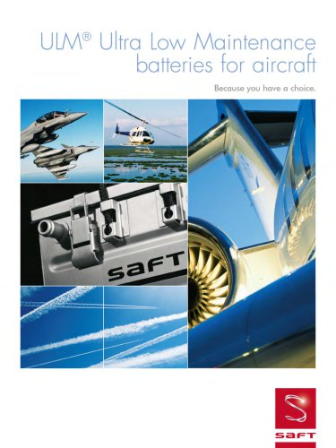 ULM Ultra low maintenance batteries for aircraft