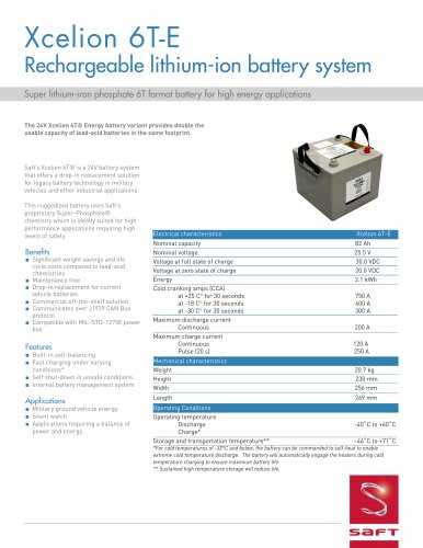 Xcelion 6T-E Rechargeable lithium-ion battery system