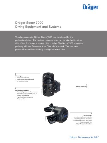 Dräger Secor 7000 Diving Equipment and Systems