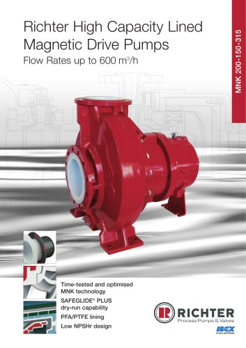 High Capacity Lined Magnetic Drive Pumps MNK 200-150-315