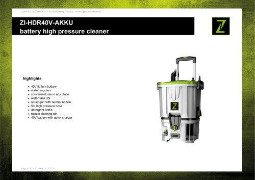 battery high pressure cleaner