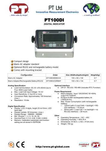 PT100DI Value Digital Indicator