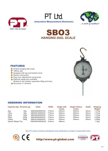 Spring Hanging Dial Scale Brochure