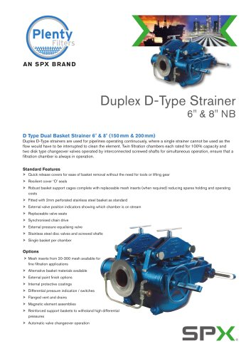 """Duplex D-Type Strainers 6"""" and 8"""""""