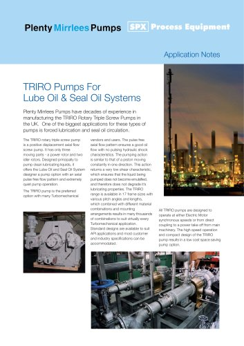 Screw Pumps for Lube Oil Applications