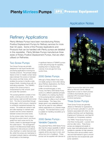 Screw Pumps for Refinery Applications