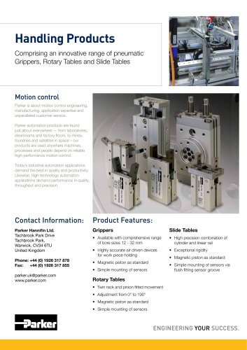 Handling Products Comprising an innovative range of pneumatic Grippers, Rotary Tables and Slide Tables