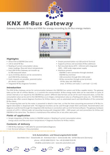 KNX M-Bus Gateway (DIN rail housing)