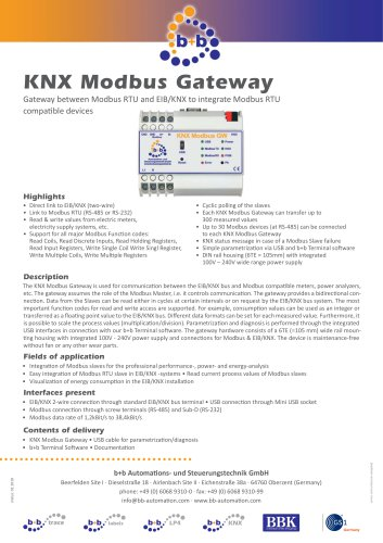 KNX Modbus Gateway (DIN rail housing)