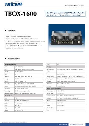TAICENN/Box PC/TBOX-1600