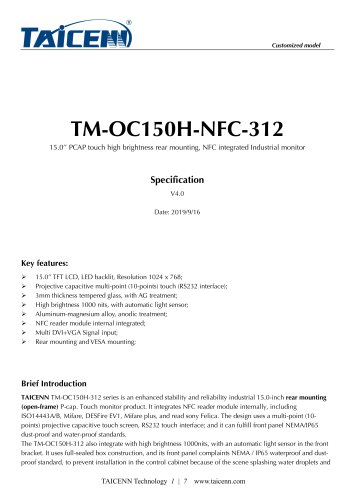 TAICENN/Industrial monitor/TM-OC150HNFC-312