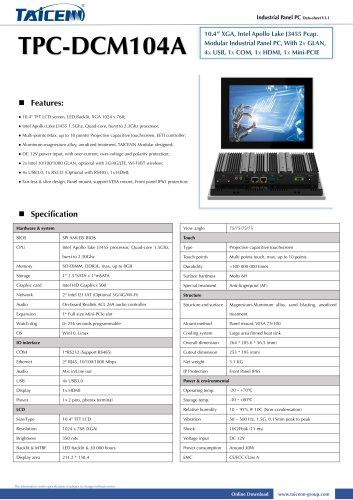 TAICENN/Panel PC/TPC-DCM104A