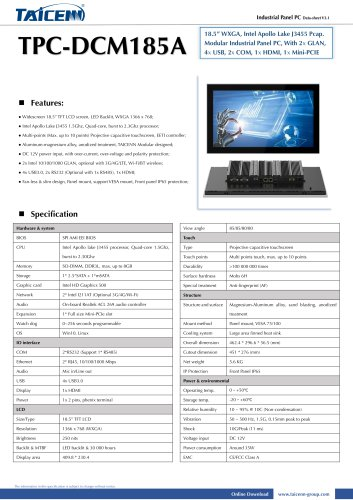 TAICENN/Panel PC/TPC-DCM185A