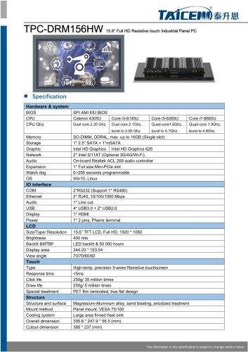 TAICENN/Panel PC/TPC-DRM156HW