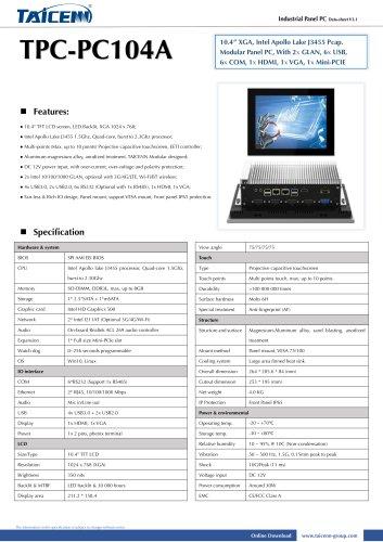 TAICENN/Panel PC/TPC-PC104A