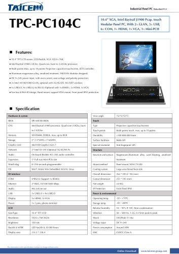 TAICENN/Panel PC/TPC-PC104C
