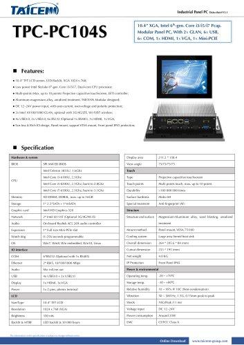 TAICENN/Panel PC/TPC-PC104S