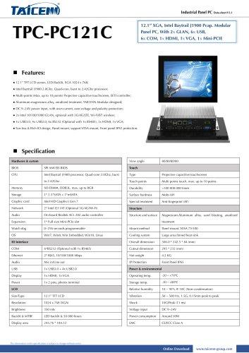 TAICENN/Panel PC/TPC-PC121C