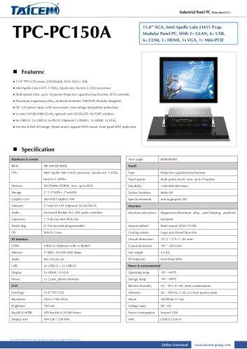 TAICENN/Panel PC/TPC-PC150A