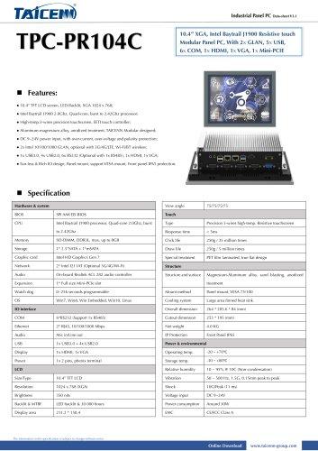 TAICENN/Panel PC/TPC-PR104C