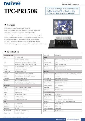 TAICENN/Panel PC/TPC-PR150K