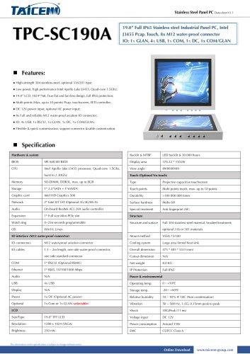 TAICENN/Panel PC/TPC-SC190A