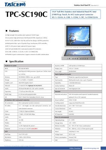 TAICENN/Panel PC/TPC-SC190C