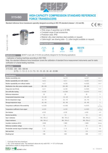 3115-ISO : HIGH-CAPACITY COMPRESSION STANDARD RÉFÉRENCE FORCE TRANSDUCERS