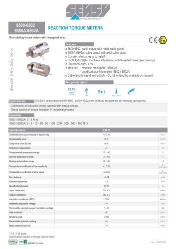 6500-6502 6500A-6502A : REACTION TORQUE METERS