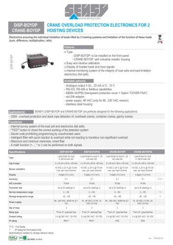 DISP-BOYDP CRANE-BOYDP : CRANE OVERLOAD PROTECTION ELECTRONICS FOR 2 HOISTING DEVICES